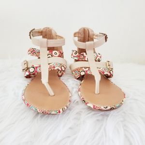 Vibe sandals with added  floral cloth strap